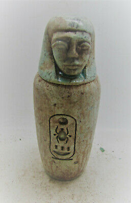 Beautiful Ancient Egyptian Stone Canopic Jar W/ Heiroglyphs