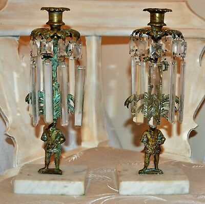 Antique Girandole Pair of Brass/Marble Candlesticks Men and Pism