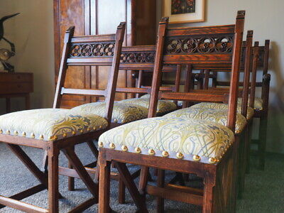 Antique Pugin Style Oak Dining Chairs (set of 8) William Morris Style Fabric