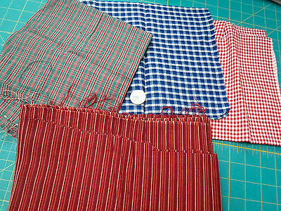 4 Woven Cotton Pieces Fabric  OOP  Checks & Stripes