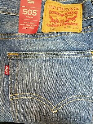 85913b5e661 Levis 505 Jeans Size 36 x 32 LIGHT BLUE W/Fade Mens Regular Fit Levi's