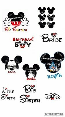 Minnie And Mickey Mouse personalised iron on T-shirt / Material transfers