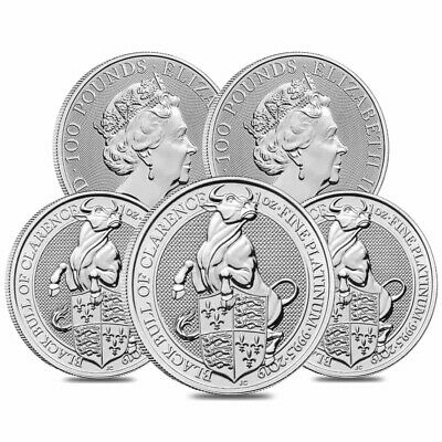 Lot of 5 - 2019 Great Britain 1 oz Platinum Queen's Beasts (Black Bull) Coin