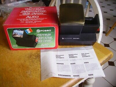 Vintage auto slide viewer for A/C operation & batteries by Posso of France.