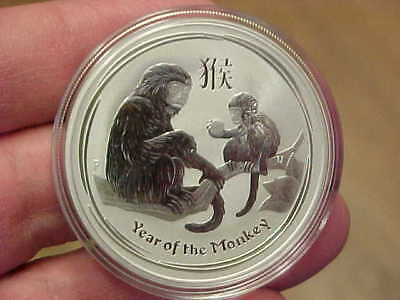Bu 2016 1 Oz .999 Fine Silver Year Of The Monkey Round Perth Australia In Holder