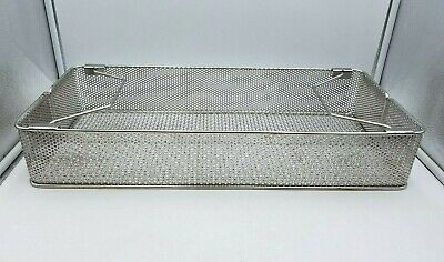 "Medical Sterilization Basket 21.5"" x 9.5"" x 3.5"" Stainless Steel Used Lab Health"