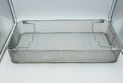 "Medical Sterilization Basket 21.5"" x 9.5"" x 3.5"" Stainless Steel Used Health Lab"