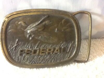 Nice Vintage FEDERAL INDIANA METAL CRAFT Belt Buckle AMMUNITION FLYING DUCK