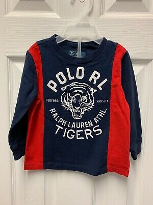 Ralph Lauren Baby Boy Long Sleeve Red and Blue Striped Shirt Size 18M #122