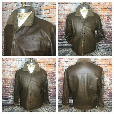 58a74ec14 BURK S BAY LEATHER Bomber Flight JACKET Mens Size XL Black insulated ...