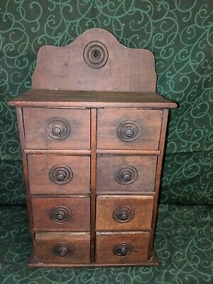 """*VTG* Primitive Wood Spice/Apothecary 8 Drawer Cabinet - 17"""" Tall"""