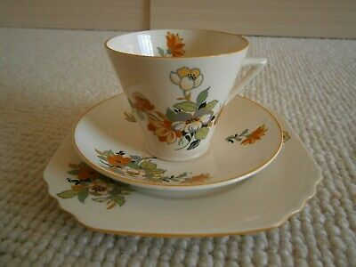 Phoenix Ware Thomas Forrester & Son  Set Orange Yellow Flower Cup Saucer Plate
