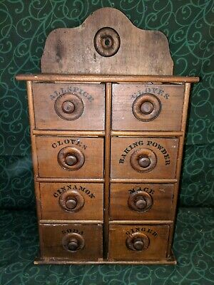"""*VTG* Primitive Wood Stencil Spice/Apothecary 8 Drawer Cabinet - 17"""" Tall"""