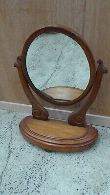 Antique Victorian Table Top Swivel Toilet Mirror Mahogany Carved Stand & Frame