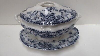 Antique Flo Blue White Tureen & Oval Serving Plate Staffordshire Pottery