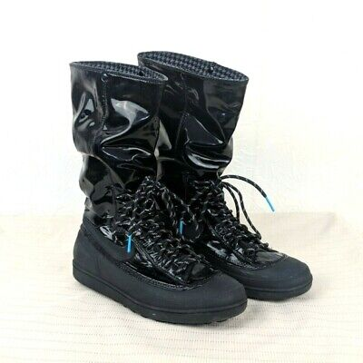 90d95526ee59 NIKE Womens 6.5 Black Storm Warrior Hi Patent Slouchy Rain Snow Winter Boots