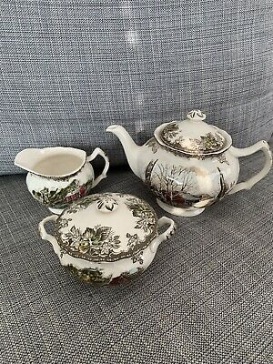 Johnson Brothers THE FRIENDLY VILLAGE Tea Pot  Creamer SugarBowl Made In England