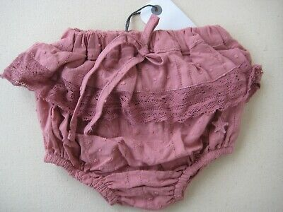 Tocoto Vintage Pink Plumeti Lace Ruffle Bloomers/Culotte 3M BNWT