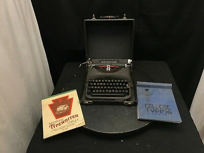 Remington Rand De Luxe Model 5 Portable Typewriter with Case With Books M#S