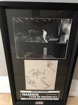 Queen Signed Autographs Freddie Mercury Brian May Jon Deacon Roger Taylor