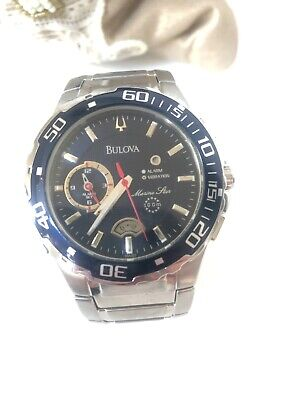 mens silver marine star bulova watch