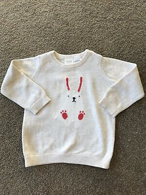 Seed Baby Knitted Cream Bunny Jumper Size 0 6-12 Months - Perfect For Easter!