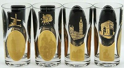 Highball Black Gold Tumblers - New York - London - Paris - Rome - 1960s Cocktail