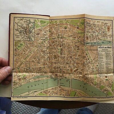 """1919 Maps ~ German Cities in """"A Guide to the Rhine"""" ~ G Holscher ~ English"""