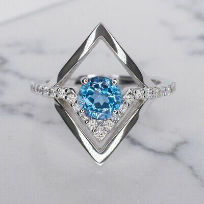 Natural Diamond Swiss Topaz Cocktail Ring Modern Pave Geometric Teal White Gold