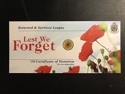 "2012 RSL Certificate Card For $2 Red Poppy ANZAC remembrance Coin ""Card Only"""