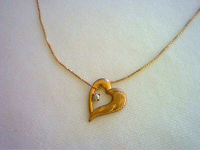 """1.5 CT  SPARKLING  HEART SHAPE PENDANT NECKLACE WITH 18/"""" CHAIN  SOLID 14K Y GOLD"""