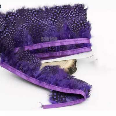 PURPLE Guinea Fowl Feather Fringe Ribbon Trim Price for 30cm DIY Craft Sewing