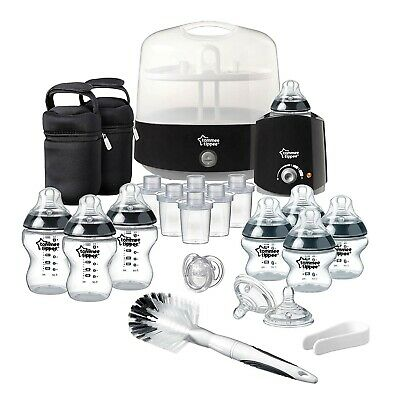 Tommee Tippee Complete Feeding Set Kit Baby Bottle Steam Sterilizer Warmer Black