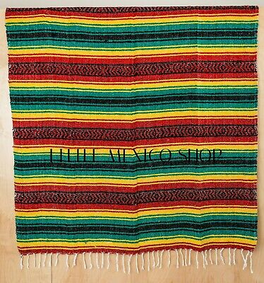 Authentic Mexican Blankets, Handmade, Rasta, Falsa, Serape, Baja, Throw, Mexico