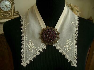 Dainty Hm Antique Vintage Sheer Embroidery Filet Lace Collar Dress Front
