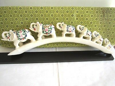 "6 ELEPHANTS ON BRIDGE SOLID RESIN FIGURINE, BOX SIZE: X-L 20""L x 4""W (508x10 CM)"