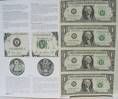 4 US$1 Bill In One UNCUT SHEET 1981 E99xC&Information Sheet+A Bonus:One Old Cent