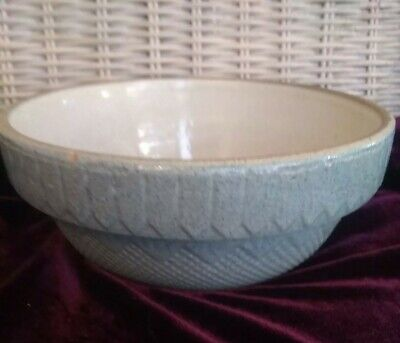 """Antique Roseville Pottery Early Cook Ware Dish , Soft Blue Venetian Bowl,  7"""""""