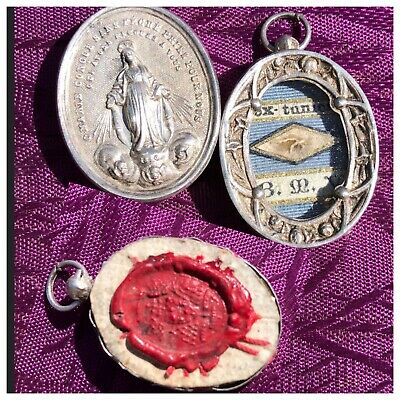 Relic Reliquary TUNIC VIRGIN MARY Jesus Catholic Saint MIRACULOUS Medal STERLING