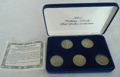 Silver Half Dollars Walking Liberty 1941, 1942, 1943, 1944, 1945 with COA