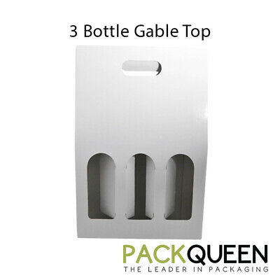 25 x 3 Bottle Gable Top Gloss White (262 x 86 x 395mm) Wine Gift Boxes