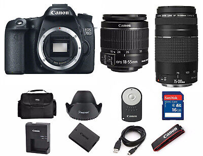 Canon EOS 70D DSLR Camera with EF-S 18-55mm IS and 75-300mm Lens 1894C002