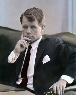 "ROBERT F ""BOBBY"" KENNEDY 1964 SENATOR CIVIL RIGHTS 8x10"" HAND COLOR TINTED PHOTO"