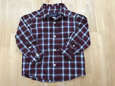 Baby Toddler Boys 12-18 Months Red Plaid Collared Button Down Shirt Top