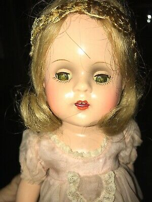 Vintage Madame Alexander Doll Composition Open Mouth Teeth Tagged Dress Nice