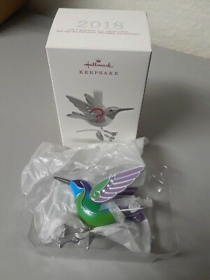 2018 Surprise Hummingbird Hallmark Ornament Repaint Blue Green Beauty Birds New