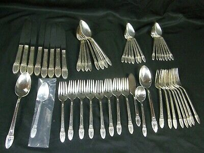 1847 Rogers Bros IS First Love Silver Plate Flatware 52 Pieces Service For 8