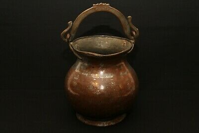 """Antique Copper Metal Hanging Pot Kettle 8""""h x 7""""w Handmade Old INCREDIBLE"""