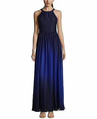 5bcebf177c Betsy   Adam NEW Navy Blue Womens Size 6 Ombre Chiffon Halter Gown  219 182