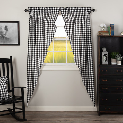 Annie Buffalo Black Check Cotton Country Cottage Window Long Prairie Curtains